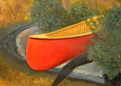 Red Canoe by Shore